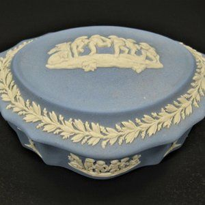Vintage Blue Wedgwood Jasparware Trinket Box